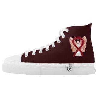 Burgundy Awareness Ribbon Angel Design Shoes