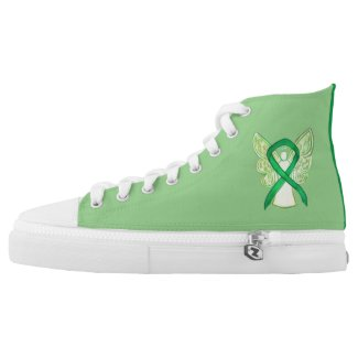 Green Awareness Ribbon Angel Custom Design Shoes