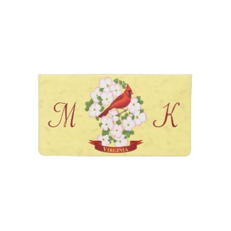 Virginia State Cardinal Bird and Dogwood Flower Checkbook Cover