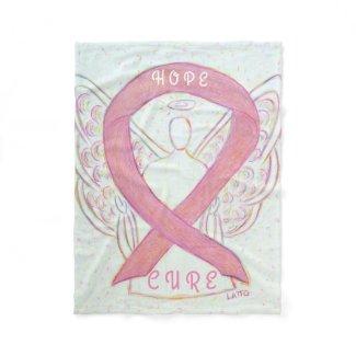 Pink Awareness Ribbon Angel Breast Cancer Blanket