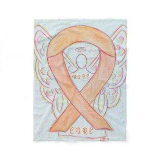 Peach Awareness Ribbon Angel Hope and Cure Blanket