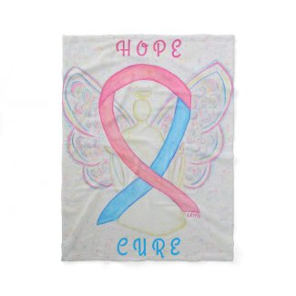 Blue and Pink Awareness Ribbon Angel Cozy Blanket