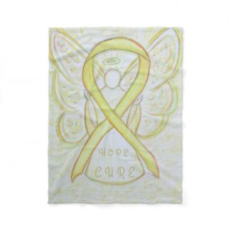 Yellow Awareness Ribbon Angel Bone Cancer Blanket