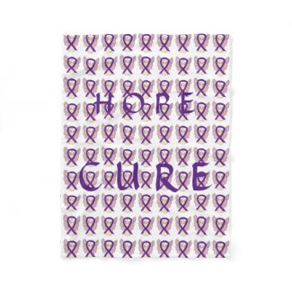 Purple Awareness Ribbon Hope Cure Angel Blanket