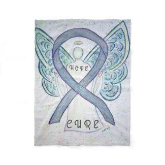 Gray Awareness Ribbon Angel Brain Cancer Blankets