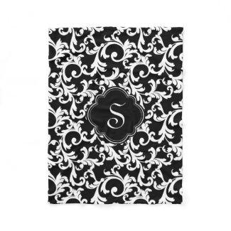Black Elegant Damask Print Fleece Blanket