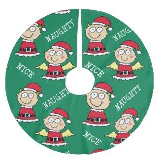 Naughty Elf Nice Elf Pattern Brushed Christmas Tree Skirt