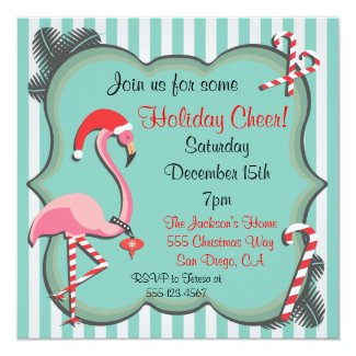 Tropical Flamingo Christmas Party Invitation