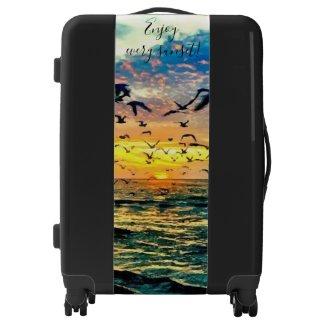 Sunset Painting Design Black Suitcase