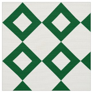 White and Green Diamond Pattern Fabric