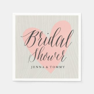 Woodgrain bridal shower paper napkins