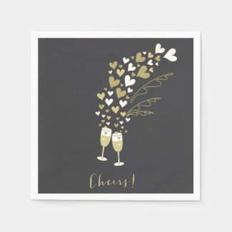 Gold Champagne Cheers Engagement Wedding Party Napkin