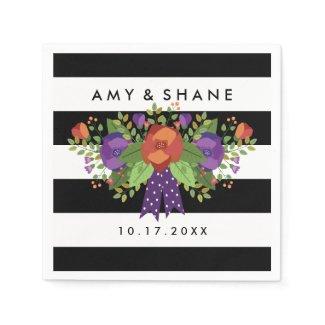Beautiful Fall Bouquet | Autumn Wedding Paper Napkin