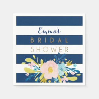 Navy Striped Bridal Shower Personalized Napkins