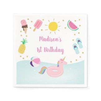 Girls Pool Party Ice Cream Sunshine Birthday Napkins