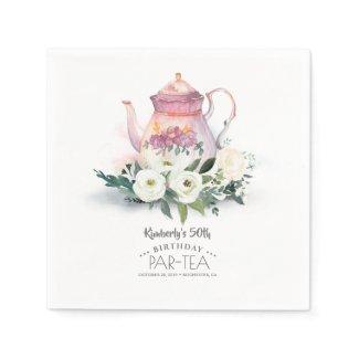 Floral Teapot Birthday Par-Tea Napkins