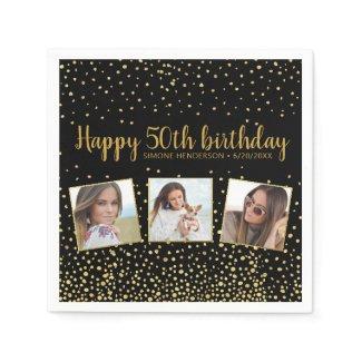 Happy Birthday Gold Glitter Photos Any Year Custom Napkins