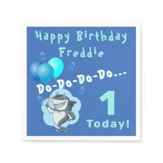 Cute Shark | Blue Balloons Birthday Napkins