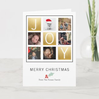 Joy Merry Christmas With Holly Photo (Gold) Card