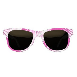 Palm leaf - white on fuchsia pink eyewear