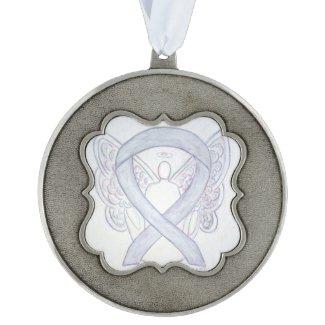 Light Gray Awareness Ribbon Angel Ornaments Ornament