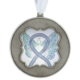 Gray Awareness Ribbon Angel Pendant Ornaments Pewter Ornament