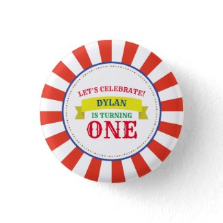 Circus Cute Colorful 1st Birthday Party Theme Button