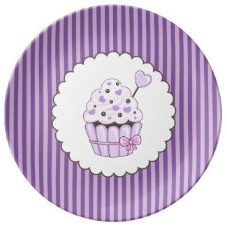 Cute Cupcake With Purple Striped Background Porcelain Plate