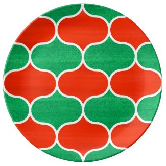 Decorative Red Green Christmas Ogee Pattern Dinner Plate