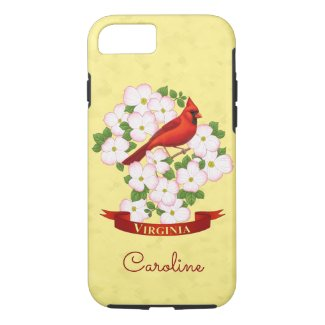 Virginia State Cardinal Bird and Dogwood Flower iPhone 7 Case