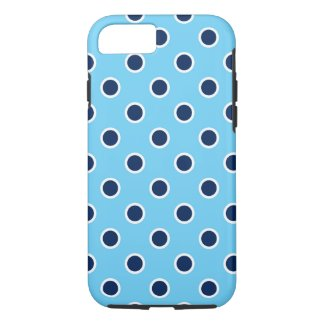 Playful Navy Polka Dots on Bright Blue iPhone 7 Case