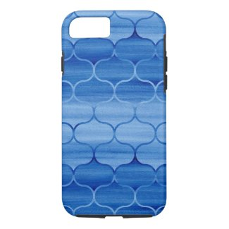 Geometric Blue Watercolor Ogee Pattern iPhone 7 Case