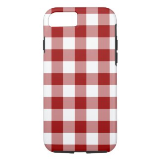 Red and White Gingham Pattern iPhone 7 Tough case