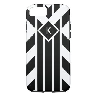 Black and White Fancy Stripes with Monogram Case