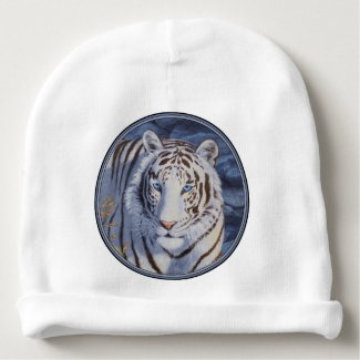 White Tiger with Blue Eyes Baby Beanie