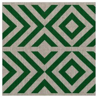 Geometric Green and White Chevrons and Diamonds Fabric