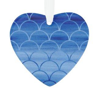 Pretty Blue Watercolor Scale Pattern Ornament