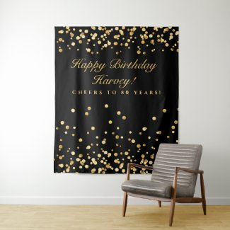 50Th Birthday Backdrop, Black And Gold Photobooth