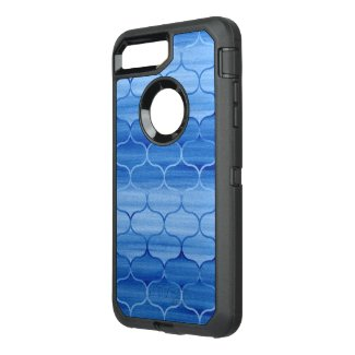 Painted Blue Geometric Ogee Design OtterBox Defender iPhone 7 Plus Case