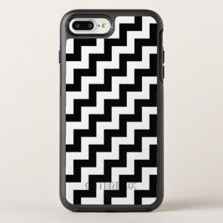 Stylish Black and White Diagonal Zigzags OtterBox Symmetry iPhone 7 Plus Case