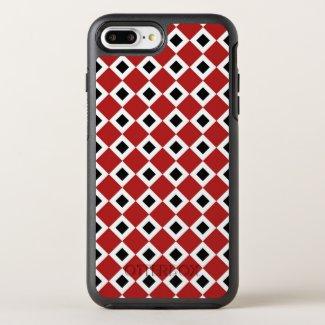 Geometric Red, White, Black Diamond Pattern OtterBox Symmetry iPhone 7 Plus Case