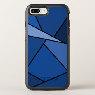Blue Geometric Shapes Outlined in Black OtterBox Symmetry iPhone 7 Plus Case