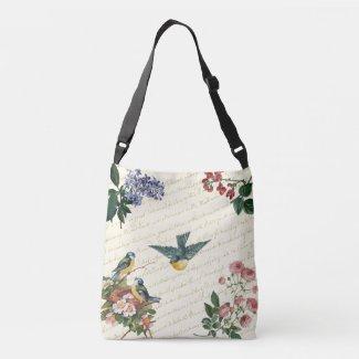 Bluebirds Flowers and Nest Crossbody Bag