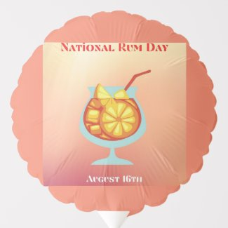 National Rum Day Balloon August 16th Orange