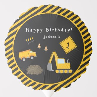 Construction Happy Birthday - Name and Age Boy Balloon