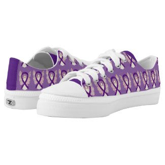 Purple Awareness Ribbon Angel Custom Sneakers