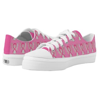 Pink Awareness Ribbon Angel Custom Sneakers