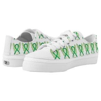 Green Awareness Ribbon Angel Custom Sneakers