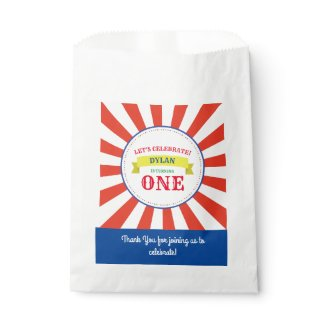 Circus Cute Colorful 1st Birthday Party Theme Favor Bag