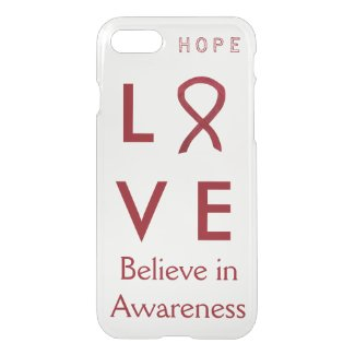 Awareness Burgundy Ribbon Custom iPhone 7 Cases